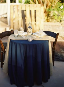 If we used navy table cloths, I like the burlap!