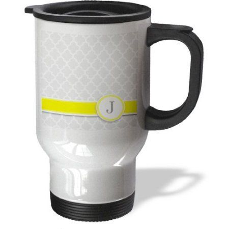 3dRose Your personal name initial letter J - monogrammed grey quatrefoil pattern - personalized yellow gray, Travel Mug, 14oz, Stainless Steel