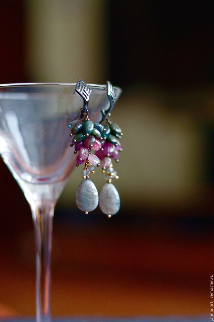 Купить Серьги из турмалина и лабрадора - комбинированный, серо-розовый, серьги, серьги с камнями, серьги с турмалином