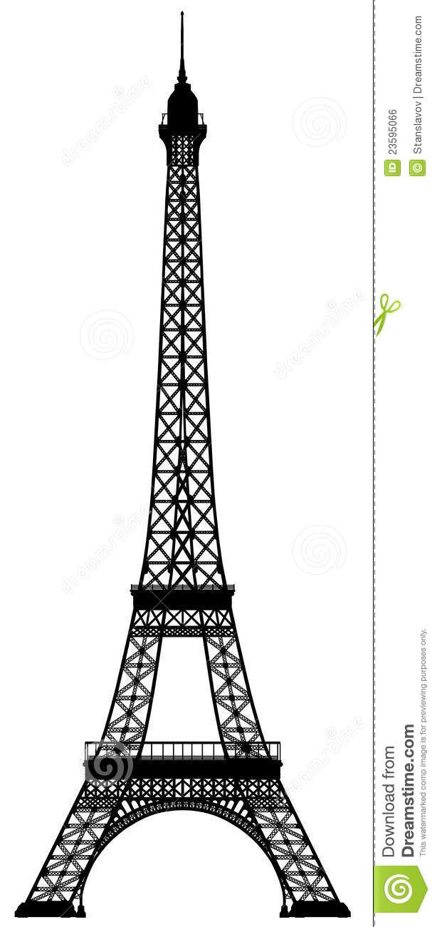 Eiffel tower outline silhouette