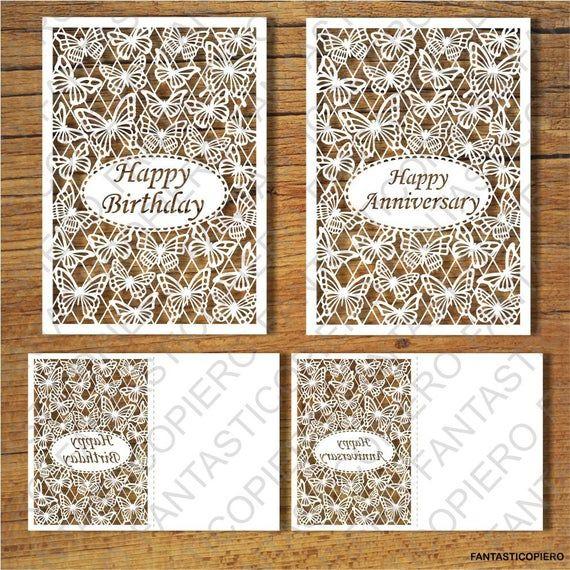Happy Birthday Anniversary Greeting Card Svg Files For Etsy Anniversary Greeting Cards Silhouette Cameo Cards Happy Birthday