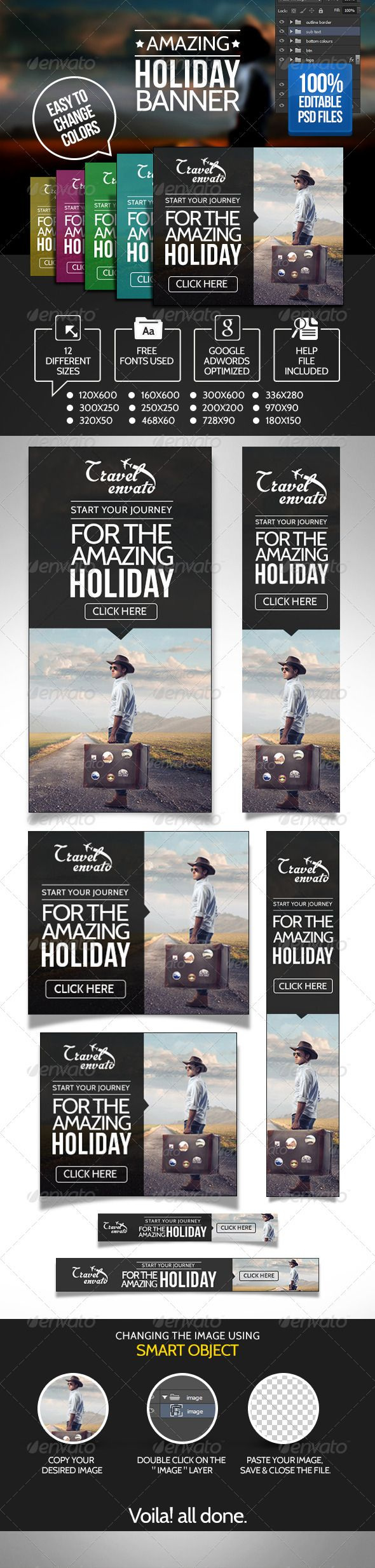 Design a banner for your website - Travels Banner Set Updated With 21 Sizes Web Banner Designweb