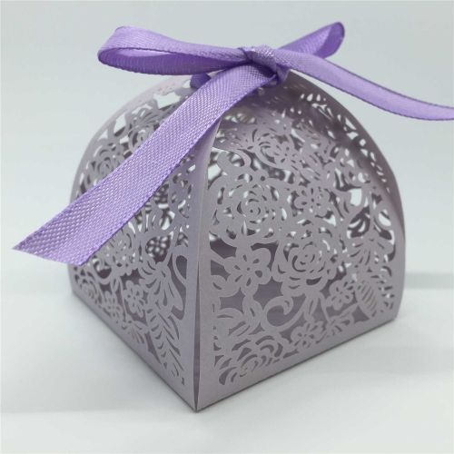20 PCS Noble Purple Delicate Carved Flower Elegant Romantic Candy Boxes with Ribbons for Party Birthday Wedding Banquet Kindergarten Bridal Shower