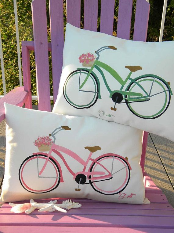 Beach cruiser lumbar pillow 15x20 indoor outdoor by crabbychris, $38.00