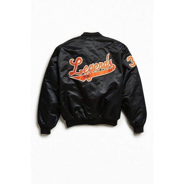 Vintage Legends Pub Satin Club Jacket (1500 MAD) ❤ liked on Polyvore featuring men's fashion, men's clothing, men's outerwear, men's jackets, mens satin jacket and mens vintage jackets