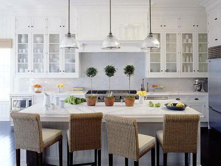 Source Nathan Egan Glass Pendant Kitchen Island Lights White Cabinets Calcutta Marble Counter Tops Subway Tiles Backsplash