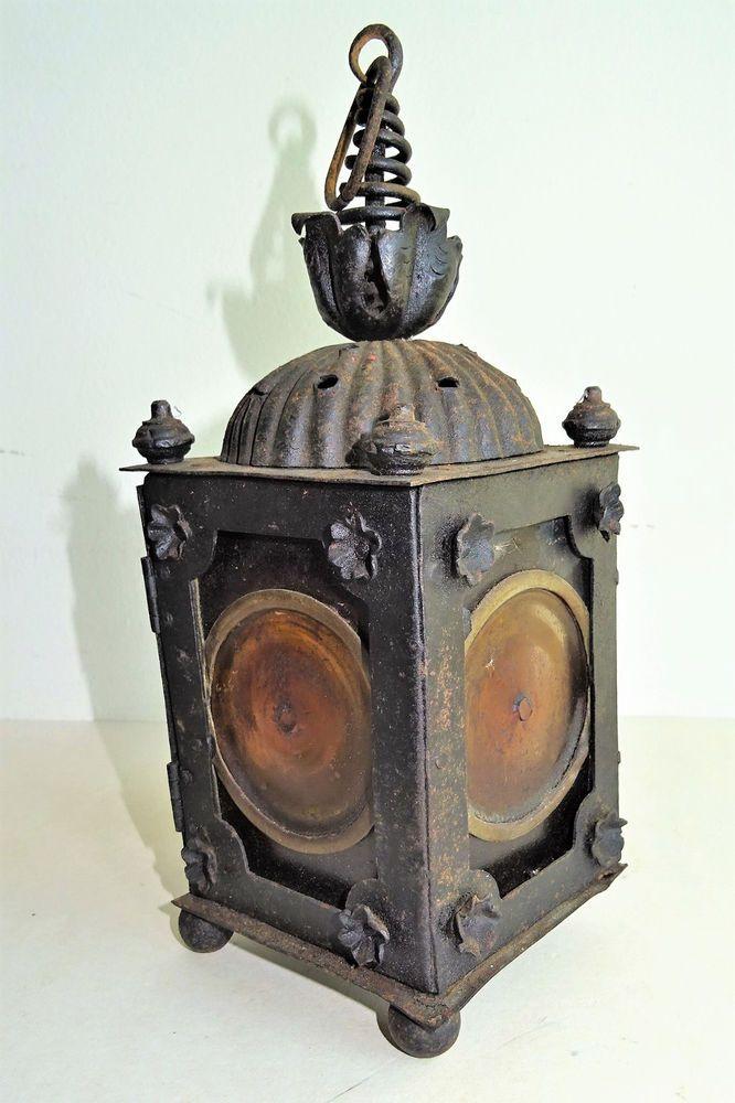 Antique 19. Jhdt.Laterne Schmiedeeisen mit Bleiverglasung Lamp leaded Glass