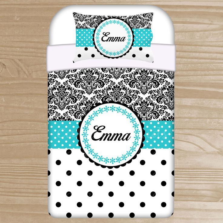 Personalized Damask Bedding  - Damask Duvet or Comforter for Girls - Personalized Black and Teal Duvet Set - Custom Comforter for Teens by TheDreamyDaisy on Etsy https://www.etsy.com/listing/222727503/personalized-damask-bedding-damask-duvet