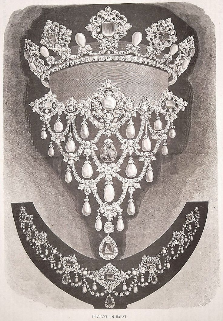 """Antique print from 1868 of the work of the Parisian jeweller """"Maison Bapst"""", a long time official purveyor to the French Crown"""
