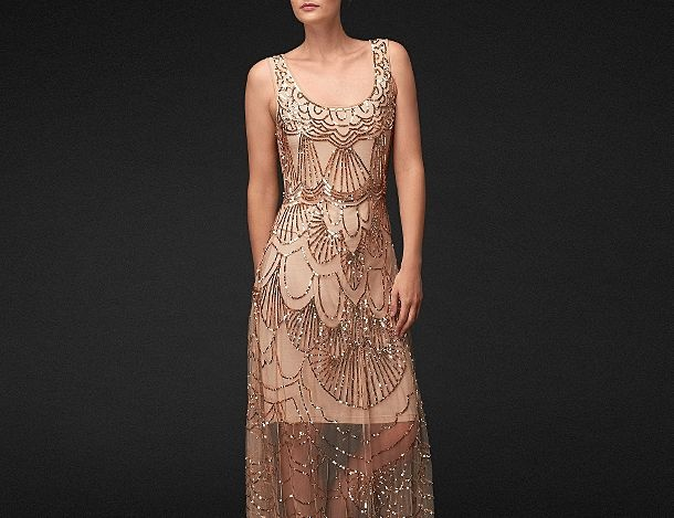 Gold beaded dress dress up pinterest for Gold beaded wedding dress