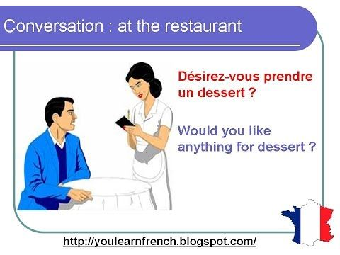 French Lesson 75 - At the restaurant - Ordering food - Dialogue Conversation English subtitles - YouTube
