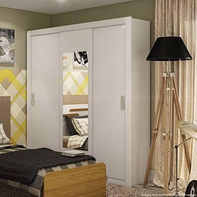 Guarda-roupa 3 Portas de Correr com Espelho Apoena Branco - Lopas