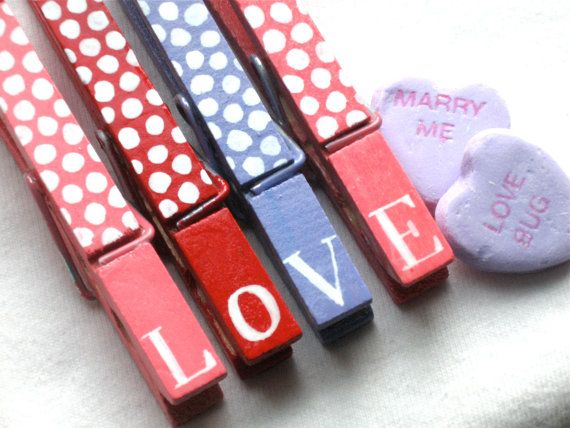 LOVE clothespins hand painted magnetic pegs by SugarAndPaint, $10.00