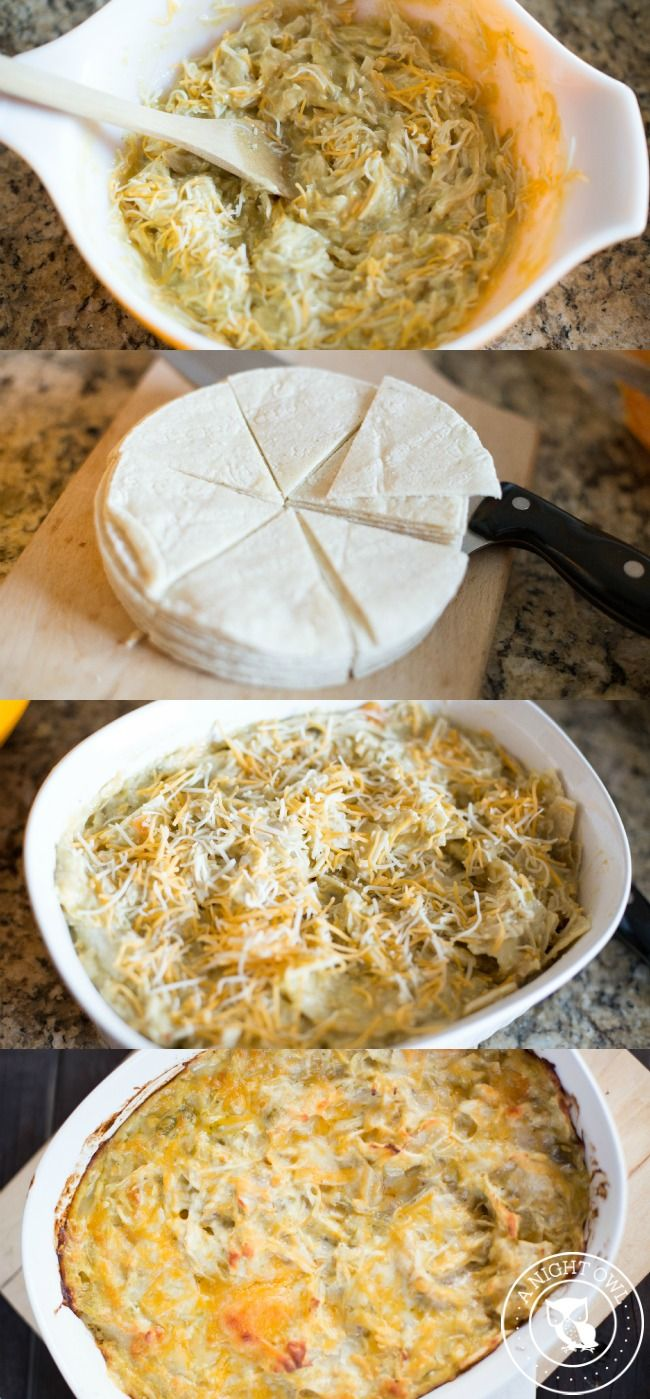 Green Chicken Enchilada Casserole - all the great flavors of chicken enchiladas with none of the fuss!