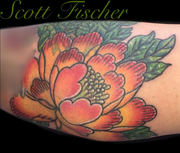 Japanese peony cover up tattoo done on female elbow. Tattoo done by Tampa tattoo artist Scott Fischer