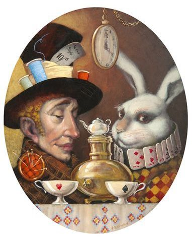 TEA TIME - ALICE IN WONDERLAND BY VLADIMIR OVTCHAROV ... very cool image ... but the white rabbit was NOT at the tea party!  Poor March Hare ... he's so ignored ...