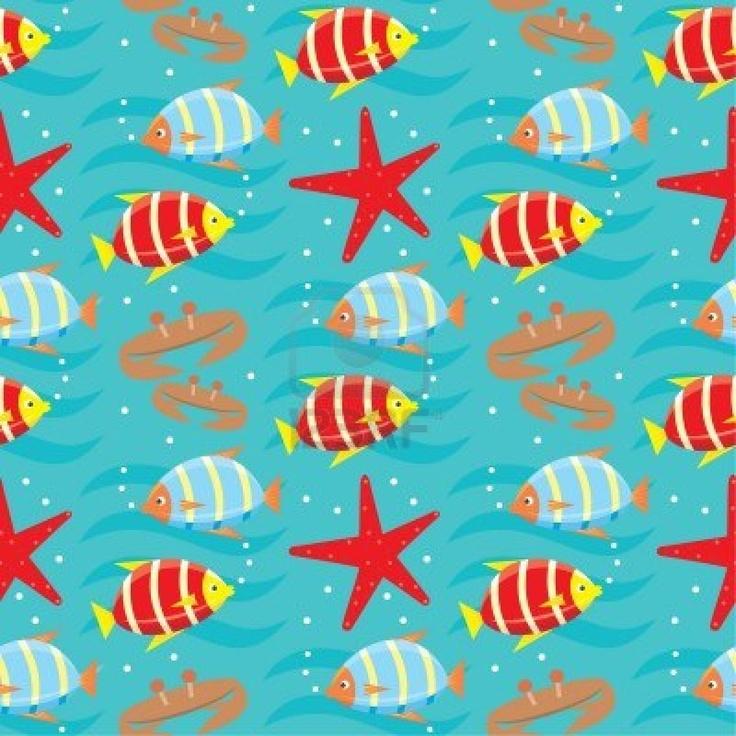Ritme - De zeester, krab en rode en blauwe vissen wisselen elkaar regelmatig af.