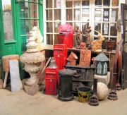 Cox's Architectural Salvage yard in Moreton in Marsh. Specialist suppliers of Architectural salvage- a visit to their website showed Art Deco cinema lights, Door furniture, Cast iron knockers, Cabinets and bar paraphernalia.