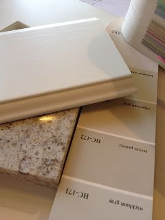 """walls: Benjamin Moore Revere Pewter HC-172 countertops: Allen & Roth """"Angel Ash"""" quartz kitchen cabinets: white, painted"""