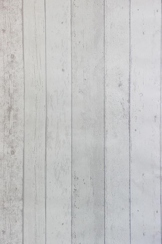 Steigerhout Vliesbehang Wit bij Behangwebshop Voor hoge witte kasten. € 19,95 per rol.