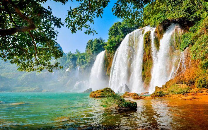 Lataa kuva kaunis vesiputous, lake, viidakko, Thaimaa, kesällä, matka, trooppinen saari