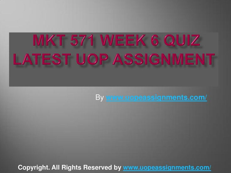 Get an A+ is quite difficult but knowing that the how to get it and still not doing so is foolish. Join http://www.UopeAssignments.com/ and we provide all the course including Mkt 571 week 6 quiz latest uop assignment that will lead you to success