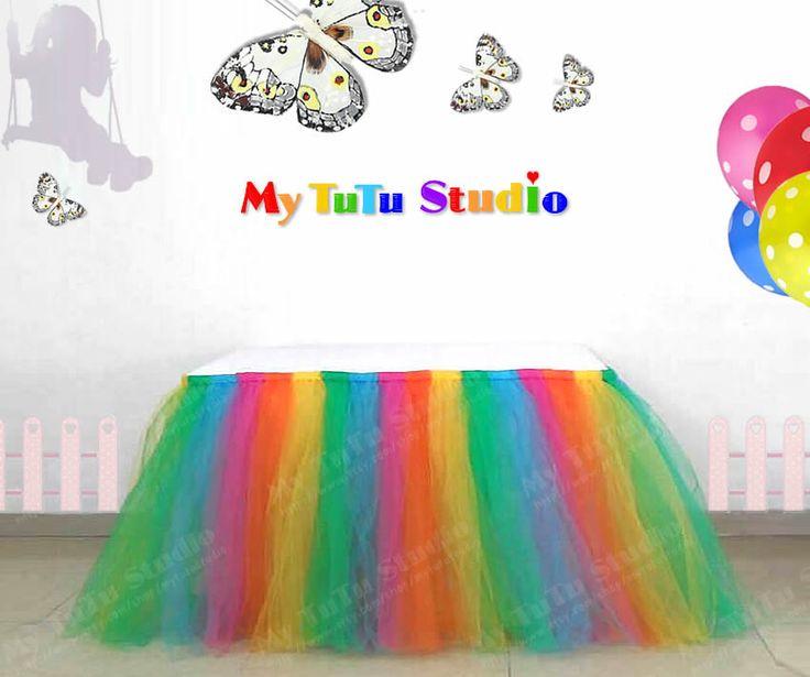 Regenboog Tulle tabel TuTu rok voor bruiloft door MyTuTuStudio