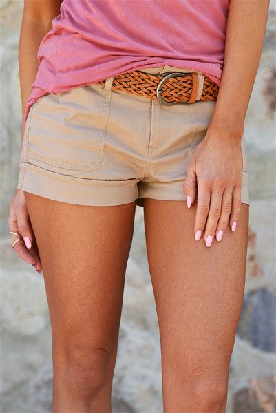 If Only Belted Shorts - Khaki from Closet Candy Boutique #fashion #ootd #spring