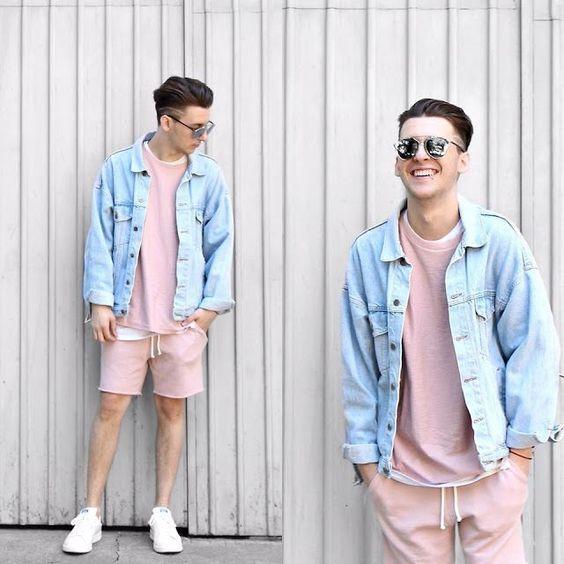 Bermuda Tom pastel. Macho Moda - Blog de Moda Masculina: BERMUDA MASCULINA 2018: 5 Modelos que estão em alta. Moda para Homens, Roupa de Homem, Shorts Pastel Masculino, Jaqueta Jeans Oversized, Conjunto Rosa pastel, Adidas Stan Smith Branco