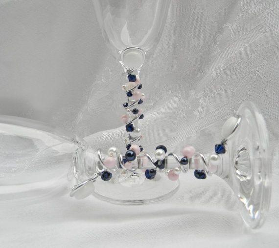 CHOISISSEZ couleurs mariage perles Champagne grillage flûtes verres verres à pied - bleu marine, rose Blush pâle, blanc - cristaux de Swarovski, perles de nacre