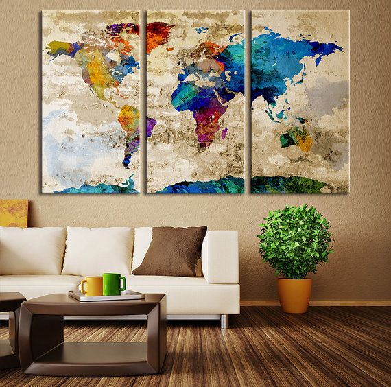 Watercolor World Map Canvas Print, Large World Map Wall Art, Great Design Great Gift Idea, Multicolor World Map Canvas Print