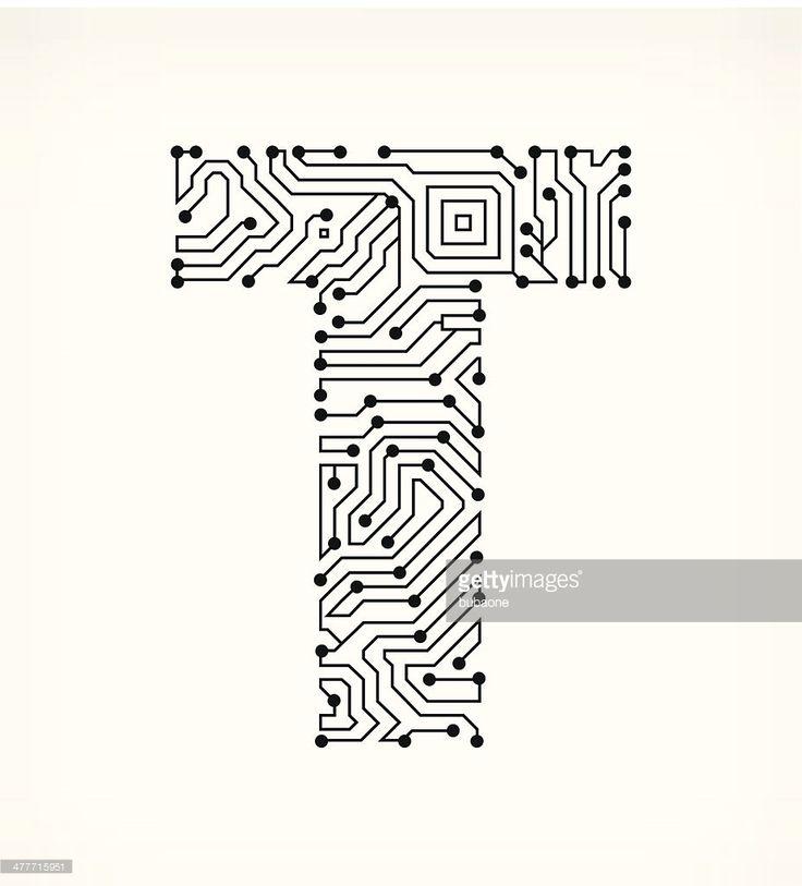 Vektorgrafik : Buchstabe T Schaltkreis auf weißem Hintergrund