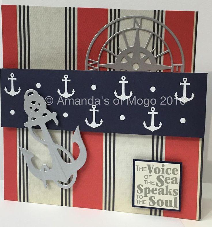This nautical card was designed by Amanda. #amandasofmogo #kaisercraft #americancraft #handmade #mogo #anchor #compass #impressionobsession