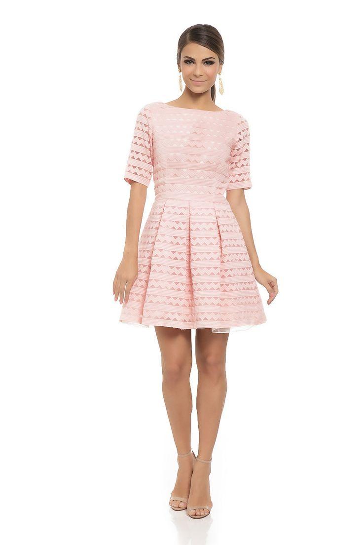 Vestido Curto Geométrico Decote Tule Rosa - roupas-vestidos-iorane-f-vestido-curto-geometrico-decote-tule-rosa Iorane
