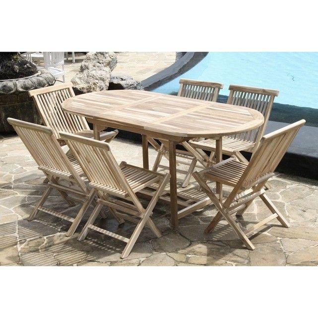 Ce salon de jardin en teck brut peut recevoir de 4 à 8 personnes. Il est composé d'une table ovale équipée d'une rallonge papillon et de 6 chaises pliantes en teck brut. La table en teck brut est équipée d'un trou de parasol et d'une rallonge papillon escamotable de 50 cm. Ses dimensions et sa modularité en font un salon familial parfait. CARACTERISTIQUES :- Table: Longeur 120/170 x Largeur 80 x Hauteur 75 cm / 30 kg - Chaises pliantes P41 x l47 x H79 cm / 5 k...