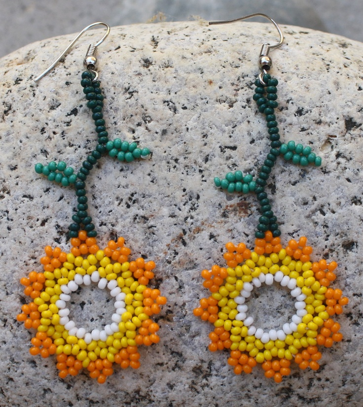 Handmade Sunflower Beaded Earrings. $20.00, via Etsy.