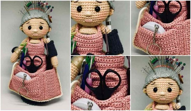 The Amigurami Granny Doll is everything you need for organizing your craft tools. It is a scissors pocket, pin cushion and hook divider all in one... plus it has a bunch more useful nooks and crannies.