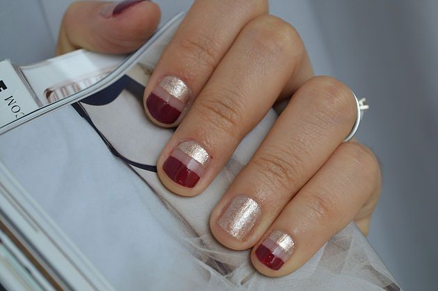 Gold and red Manicure Design Nail Art