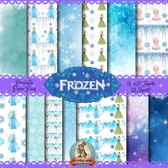 Frozen Scrapbook Paper Frozen Digital Paper by WalkingMombieDesign