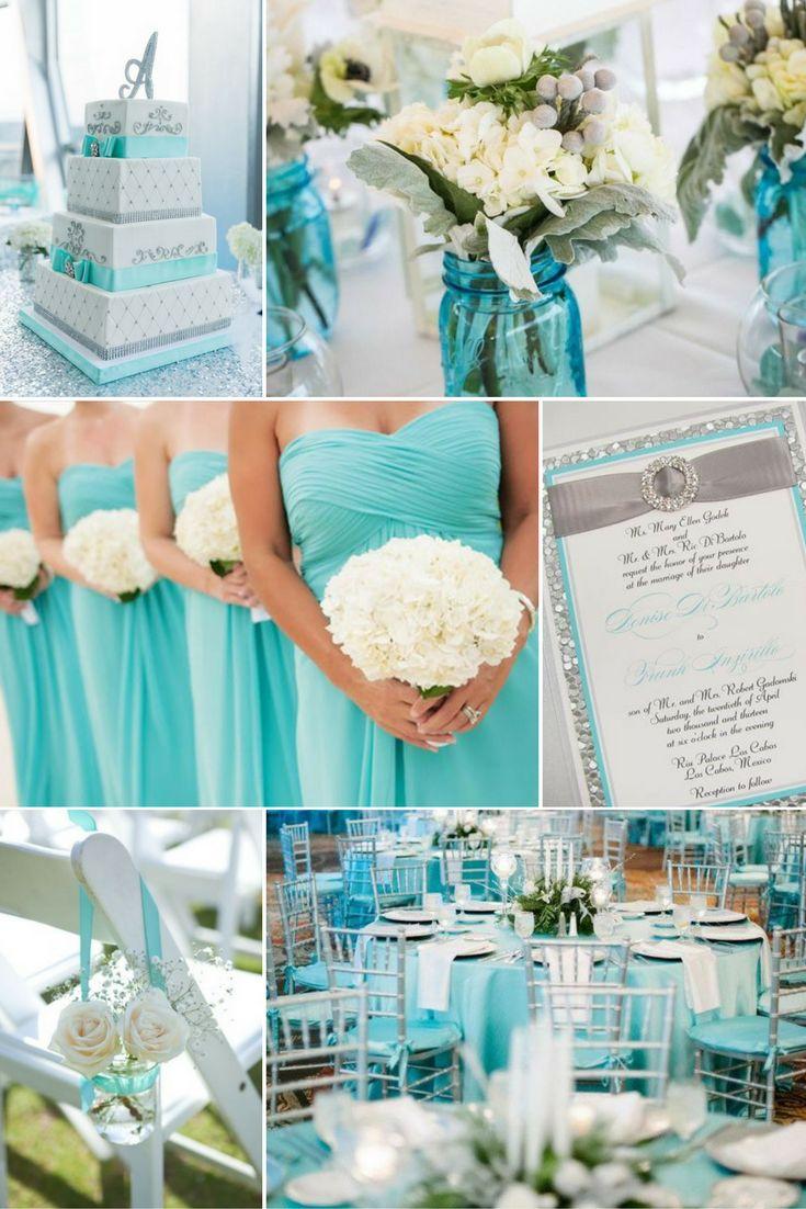 Ezüst  és Tiffany kék   Esküvői színek 2017 - 15 trendi színkombinációt mutatunk a tökéletes esküvői dekorációhoz. Inspirálódj velünk!