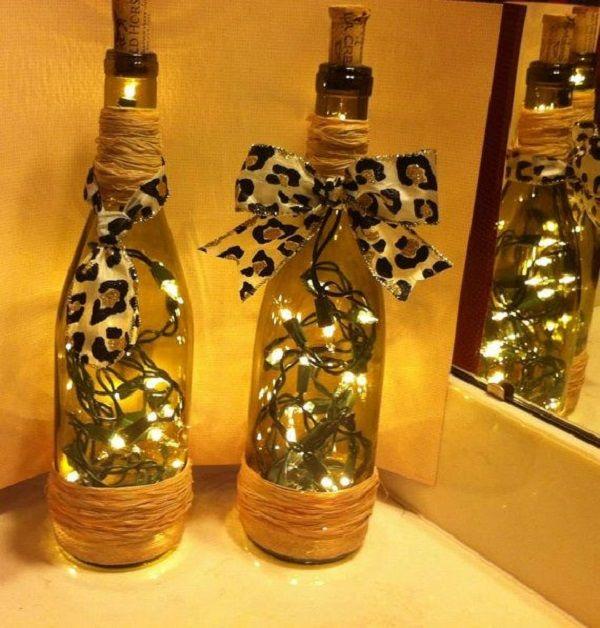 How To Make Decorative Wine Bottle Lights Without Drilling 19 Easy Ideas Tastymatters Diy Bottle Lamp Wine Bottle Decor Liquor Bottle Crafts