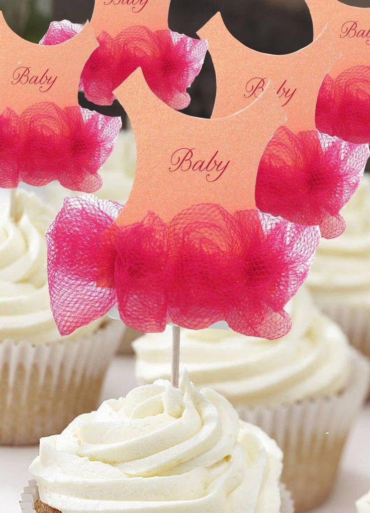 Set of 12 Tutu Baby shower cupcake toppers - Tutu Baby shower invitation - Ballerina baby shower - http://babyshower-cupcake.com/set-of-12-tutu-baby-shower-cupcake-toppers-tutu-baby-shower-invitation-ballerina-baby-shower/