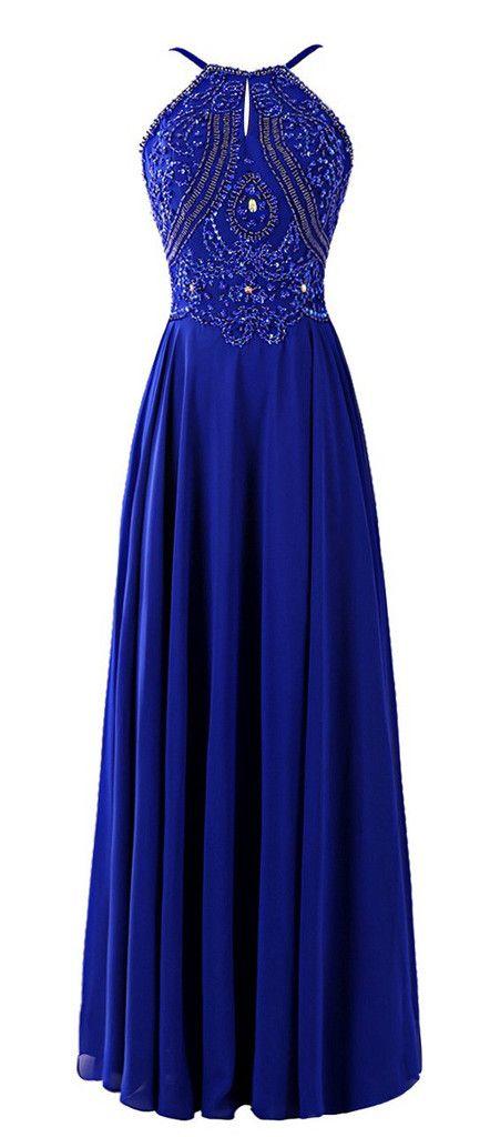 Blue floor length satin gown with beaded bodice
