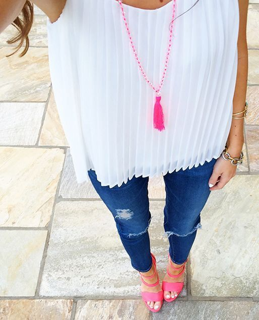 Pop of Pink !  It would look more classy without the necklace tho