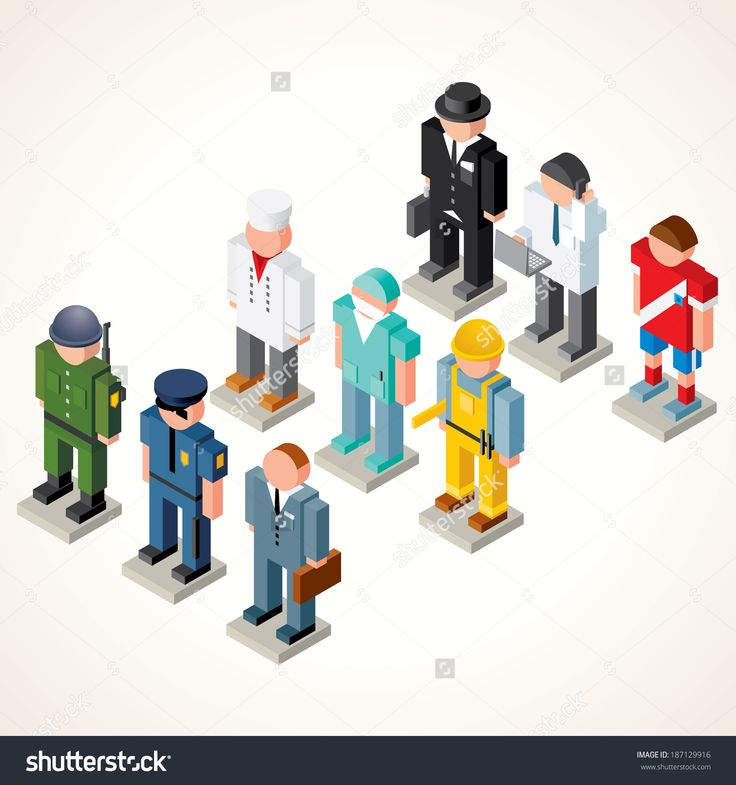 Male Professional People. Vector Icons. Set Of Isometric Figures Of Broker, Chef Cook, Athlete, Policeman, Soldier, Businessman, Engineer, Dentists And Clerk. - 187129916 : Shutterstock