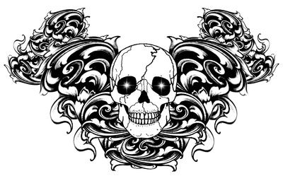 how to draw a gothic skull