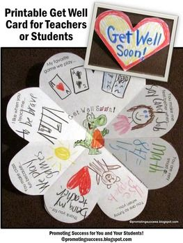 Get Well Soon: In this packet, your students will be drawing or writing get well wishes to a special student or teacher. The are eight variations of the ONE get well card, including open-ended options to meet the individual needs of all your students. This get well craft activity works well year after year for multiple grade levels due to the different templates and writing or drawing options!