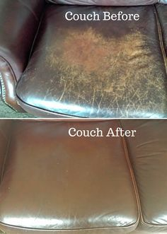 The couch before and after I conditioned it using EVOO.  I've used this method for the last 4 to 5 years to condition our leather couch and love seat. It really conditions the leather well and I've never had any issues with the olive oil leaching back up to the top of the leather. www.thetatteredrabbit.com