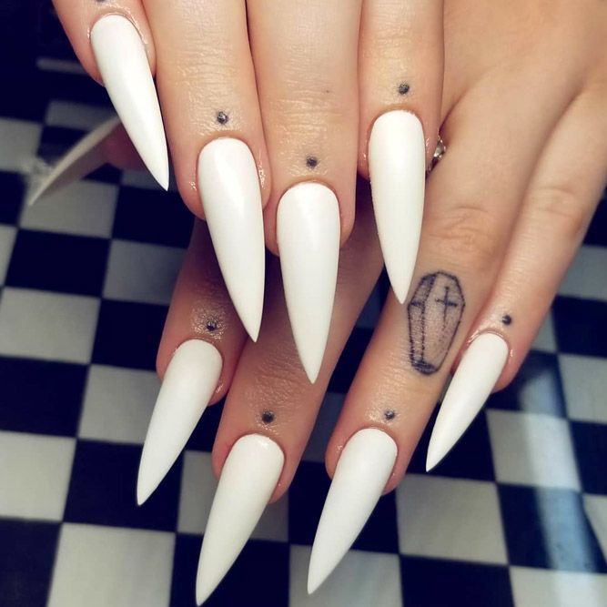 Inspiring Stiletto Nails To Win Over You Naildesignsjournal Com In 2020 White Nails Long Acrylic Nails Long Stiletto Nails