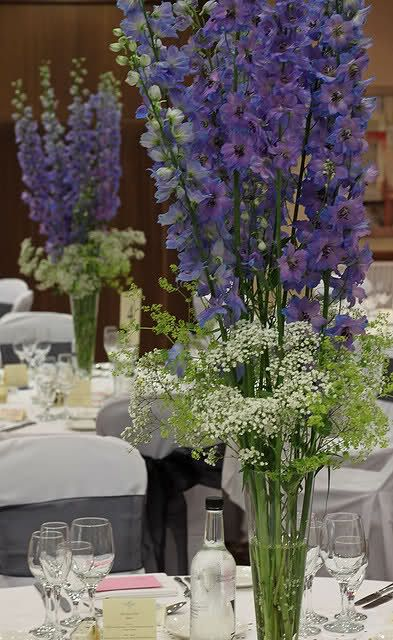 Tall table centrepiece of delphinium and queen anne s lace